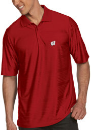 Antigua Wisconsin Badgers Mens Red Illusion Short Sleeve Polo