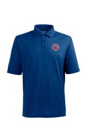 Antigua Detroit Pistons Mens Blue Pique Short Sleeve Polo