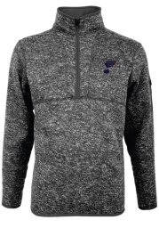 Antigua St Louis Blues Mens Grey Fortune Long Sleeve 1/4 Zip Pullover