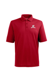 Antigua Wisconsin Badgers Mens Red Pique Xtra-Lite Short Sleeve Polo