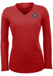 Antigua Chicago Fire Womens Red Flip Long Sleeve Women's V-Neck
