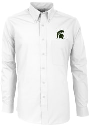 Antigua Michigan State Spartans Mens White Dynasty Long Sleeve Dress Shirt