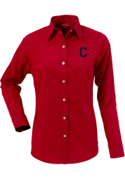Antigua Cleveland Indians Womens Dynasty Long Sleeve Red Dress Shirt