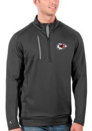 Antigua Kansas City Chiefs Mens Grey Generation Long Sleeve 1/4 Zip Pullover