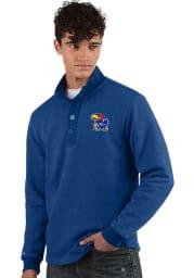 Antigua Kansas Jayhawks Mens Blue Pivotal Long Sleeve Sweater