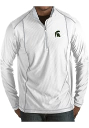 Antigua Michigan State Spartans Mens White Tempo Long Sleeve 1/4 Zip Pullover