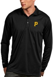 Antigua Pittsburgh Pirates Mens Black Exceed Long Sleeve Polo Shirt