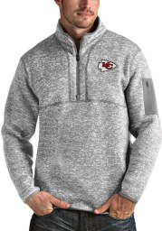 Antigua Kansas City Chiefs Mens Grey Fortune Long Sleeve 1/4 Zip Pullover