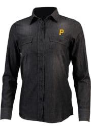 Antigua Pittsburgh Pirates Womens Outlook Long Sleeve Light Blue Dress Shirt