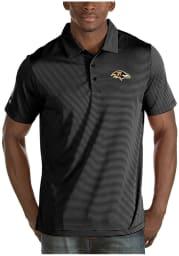 Antigua Baltimore Ravens Mens Black Quest Short Sleeve Polo