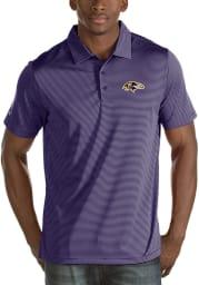 Antigua Baltimore Ravens Mens Purple Quest Short Sleeve Polo