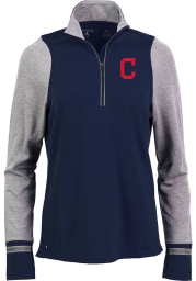 Antigua Cleveland Indians Womens Navy Blue Pitch Pullover 1/4 Zip Pullover
