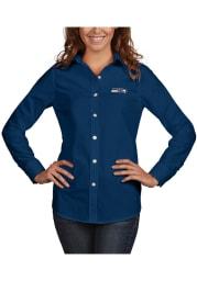 Antigua Seattle Seahawks Womens Dynasty Long Sleeve Navy Blue Dress Shirt
