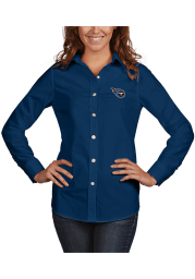 Antigua Tennessee Titans Womens Dynasty Long Sleeve Navy Blue Dress Shirt