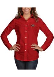Antigua San Francisco 49ers Womens Dynasty Long Sleeve Red Dress Shirt