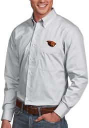 Antigua Oregon State Beavers Mens Silver Dynasty Long Sleeve Dress Shirt