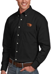 Antigua Oregon State Beavers Mens Black Dynasty Long Sleeve Dress Shirt