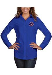 Antigua Boise State Broncos Womens Dynasty Long Sleeve Blue Dress Shirt
