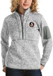 Antigua Florida State Seminoles Womens Grey Fortune 1/4 Zip Pullover