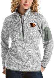 Antigua Oregon State Beavers Womens Grey Fortune 1/4 Zip Pullover