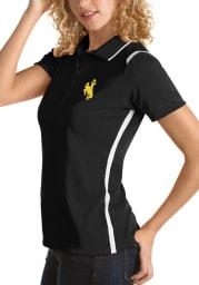 Antigua Wyoming Cowboys Womens Black Merit Short Sleeve Polo Shirt
