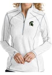 Antigua MSU Womens White Tempo 1/4 Zip Pullover