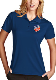 Antigua FC Cincinnati Womens Blue Exceed Short Sleeve Polo Shirt