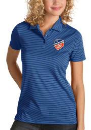 Antigua FC Cincinnati Womens Blue Quest Short Sleeve Polo Shirt