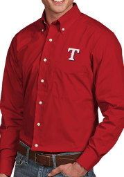 Antigua Texas Rangers Mens Red Dynasty Long Sleeve Dress Shirt