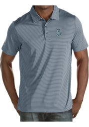 Antigua Seattle Mariners Mens Grey Quest Short Sleeve Polo
