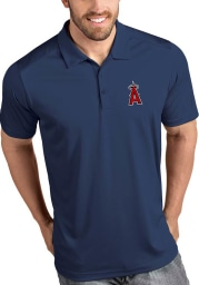 Antigua Los Angeles Angels Mens Navy Blue Tribute Short Sleeve Polo