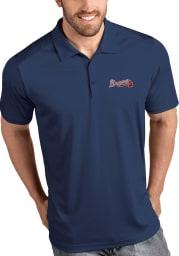 Antigua Atlanta Braves Mens Navy Blue Tribute Short Sleeve Polo