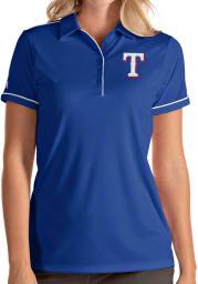 Antigua Texas Rangers Womens Blue Salute Short Sleeve Polo Shirt