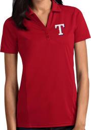 Antigua Texas Rangers Womens Red Tribute Short Sleeve Polo Shirt