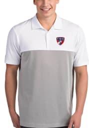 Antigua FC Dallas Mens White Venture Short Sleeve Polo