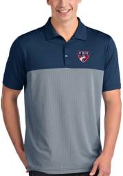 Antigua FC Dallas Mens Navy Blue Venture Short Sleeve Polo