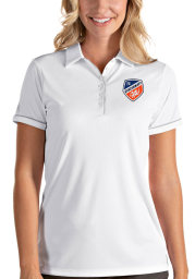 Antigua FC Cincinnati Womens White Salute Short Sleeve Polo Shirt