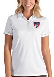 Antigua FC Dallas Womens White Salute Short Sleeve Polo Shirt