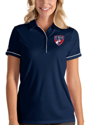 Antigua FC Dallas Womens Navy Blue Salute Short Sleeve Polo Shirt