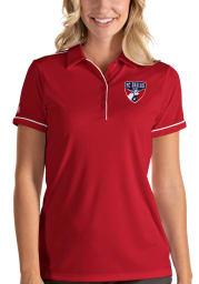 Antigua FC Dallas Womens Red Salute Short Sleeve Polo Shirt