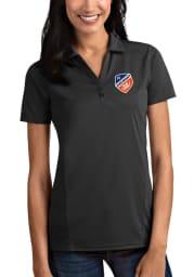 Antigua FC Cincinnati Womens Grey Tribute Short Sleeve Polo Shirt