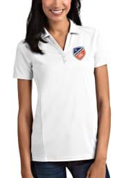 Antigua FC Cincinnati Womens White Tribute Short Sleeve Polo Shirt