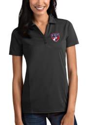Antigua FC Dallas Womens Grey Tribute Short Sleeve Polo Shirt