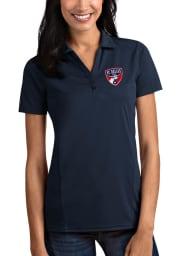 Antigua FC Dallas Womens Navy Blue Tribute Short Sleeve Polo Shirt