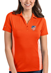 Antigua FC Cincinnati Womens Orange Venture Short Sleeve Polo Shirt