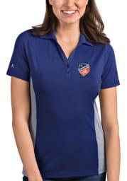 Antigua FC Cincinnati Womens Blue Venture Short Sleeve Polo Shirt