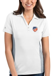 Antigua FC Cincinnati Womens White Venture Short Sleeve Polo Shirt