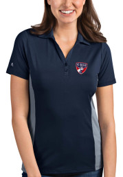 Antigua FC Dallas Womens Navy Blue Venture Short Sleeve Polo Shirt
