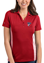 Antigua FC Dallas Womens Red Venture Short Sleeve Polo Shirt