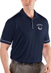 Antigua Vancouver Canucks Mens Navy Blue Salute Short Sleeve Polo